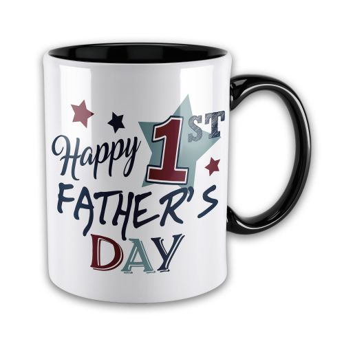 15oz Happy 1st Father's Day Novelty Gift Mug - Black Inner & Handle